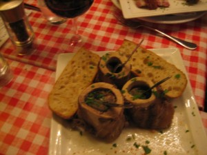 Almost raw beef bone marrow. This was heaven. Didn't touch the bread.